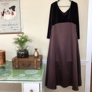 Brown Velvet 90's Satin evening Gown plus size